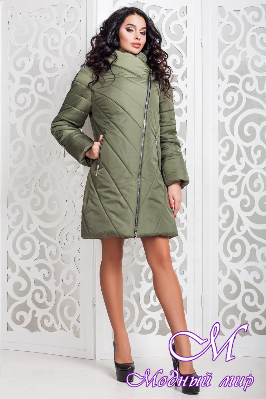 Женская оливковая демисезонная куртка р. 44-58 арт. 970 Тон 69