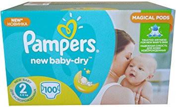 Подгузники Pampers New Baby-Dry Размер 2 (Mini) 3-6 кг, 100 ... dee8f17db50