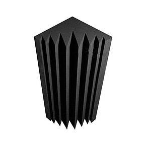 Угловая басовая ловушка «Пила» из акустического поролона 30*30*75 см. Чёрный графит, фото 2