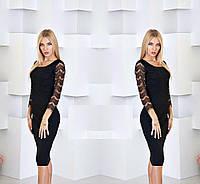 Облегающее платье с гипюровым рукавом