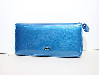 Кожаный голубой женский кошелек ST лаковый на молнии
