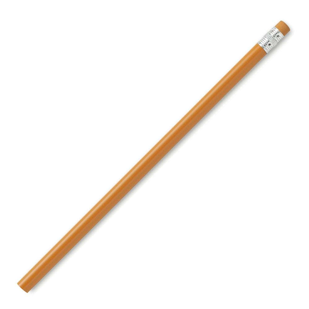 Карандаш круглый 190х7мм, простой не заточенный, с резинкой в цвет карандаша, цвет Оранжевый