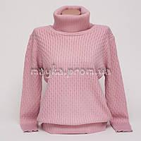 Теплый свитер гольф женский р.50-52 цвет пудра HK-938-2