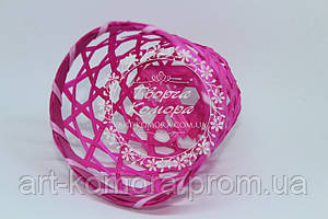 Корзина ротанговая ажурная, ярко-розовая