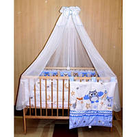 """Cпальный комплект в детскую кроватку с защитой, балдахином и карманом """"Сафари"""" 60х120  хлопок"""