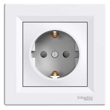 Розетка с заземлением белая ASFORA Schneider electric EPH2900121