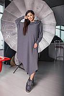 Женское трикотажное платье свободного кроя светло-серого цвета.Материал:трикотаж-ангора резинка.Размер: ХS- L.