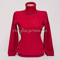 Теплый свитер гольф женский р.48-50 цвет вишня HK-555-2