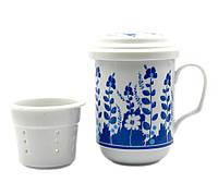 """Чашка заварник с ситечком """"Синие цветы"""" (330 мл)"""