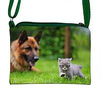 Креативная сумочка для девочки с принтом Кошка с собакой