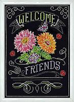 """Набор для вышивания крестом """"Welcome Friends Chalkboard//Добро пожаловать друзья"""" Design Works"""