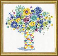 """Набор для вышивания крестом """"Blue Floral Quilt Vase//Ваза с цветами"""" Design Works"""