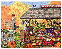 """Набор для вышивания крестом """"Buck's County Farm Stand//Тележка с овочами"""" Janlynn"""