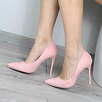 Очень красивые туфли лодочки замшевые женские цвет пудра