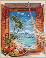 """Набор для вышивания крестом """"Tropical Vacation Window//Тропический отдых"""" Janlynn"""