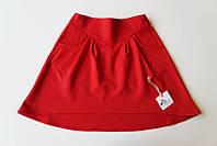 Яркая трикотажная юбка, красный (р.134,140,152)