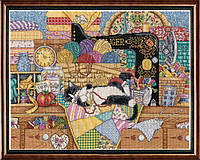 "Набор для вышивания крестом ""Kitty Sewing Lesson//Урок шитья"" Design Works"