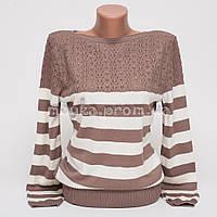 Кофта пуловер женская трикотаж в полоску р.48 AL23-4