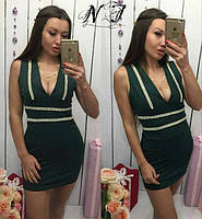 Женское платье Тесьма с отделкой жемчуга и стразы