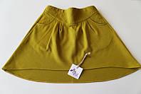 Яркая трикотажная юбка, оливковый (р.134,140,146,152)