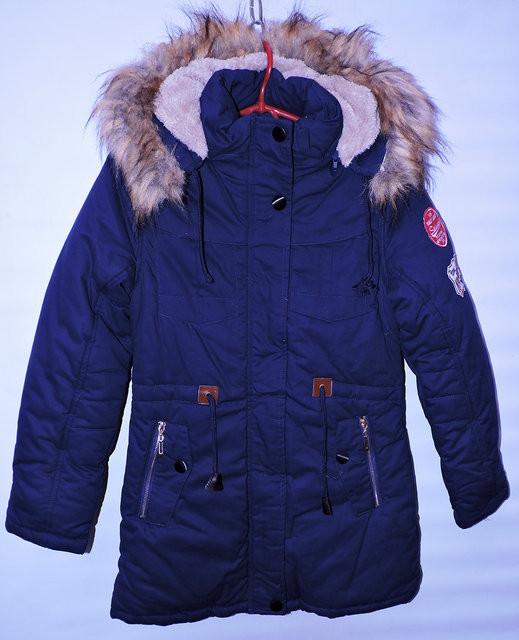 Зимова куртка -парка для дівчат 10-13 років MR темно-синя - Камала abd4c018c0da7
