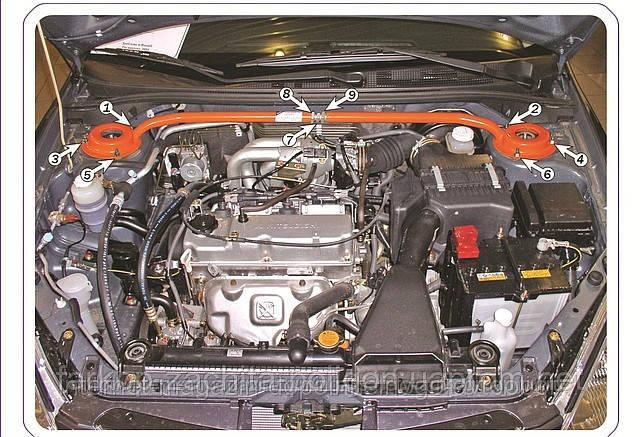 Распорка передних стоек Mitsubishi Lancer с 2003-, 2007-
