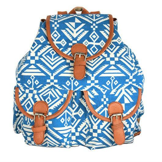 Городской рюкзак с орнаментом Голубой