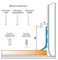 Плинтус алюминиевый накладной для отделки элементов интерьера. h-40мм