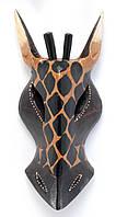 Маска Жираф расписная деревянная (20х8,5х3 см)