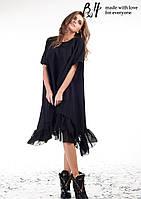 Женское черное платье ниже колена с шифоновой оборкой. Материал: тиар + шифоновая оборка. Размер: ХS - L