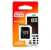 Карта памяти MicroSDHC 8 Гб (class 10) GoodRAM + Переходник MicroSD-SD