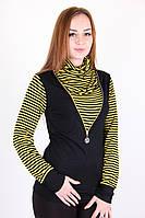 Оригинальный женский гольф в полоску желтого цвета