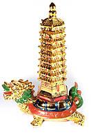 Черепаха дракон с пагодой золото
