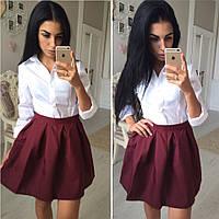 Женская юбка цвет марсала (бордо)
