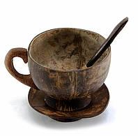Чашка с ложкой и блюдцем из кокоса