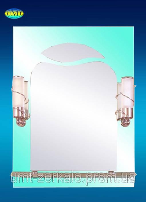 Зеркало 113 зеленое со светильником - Украинские зеркальные технологии UMT в Николаеве