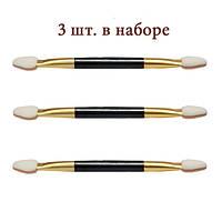 Набор аппликаторов двухсторонних каучуковых с черной ручкой, 3 шт