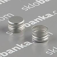Колпачок алюминиевый 18*12 серебро резьба 25 шт.