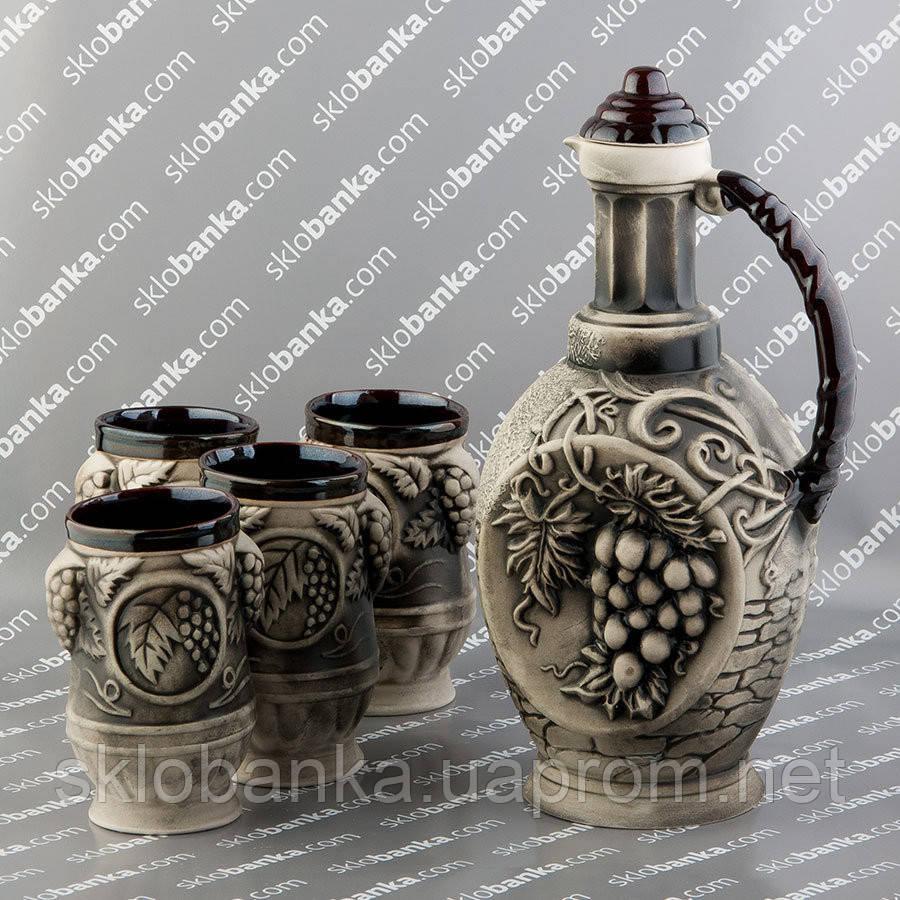 """Набор керамический винный """"Римский"""" коричневый"""