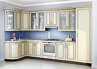 Кухня на заказ Киевский Стандарт-013  вариант угловая 3400*1320 мм мдф патина