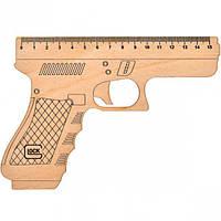 """Линейка-пистолет """"Glock"""" 15 см, деревянная"""