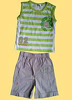Майка салатовая полосатая и бежевые шортики для мальчика