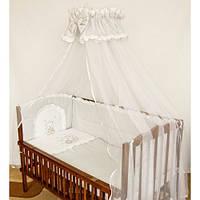 Cпальный комплект в детскую кроватку с защитой и балдахином 60х120 Мишка на луне хлопок
