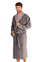 Теплый халат мужской.Польша de lafense 803 серый
