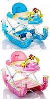 ДЕТСКИЕ ХОДУНКИ 3 в 1 (качалка, батут, музыкальная панель, свет), зеленый, розовый, голубой