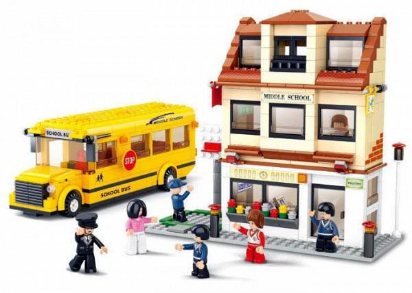 Конструктор SLUBAN М38-В0333 школьный автобус, 487 деталей