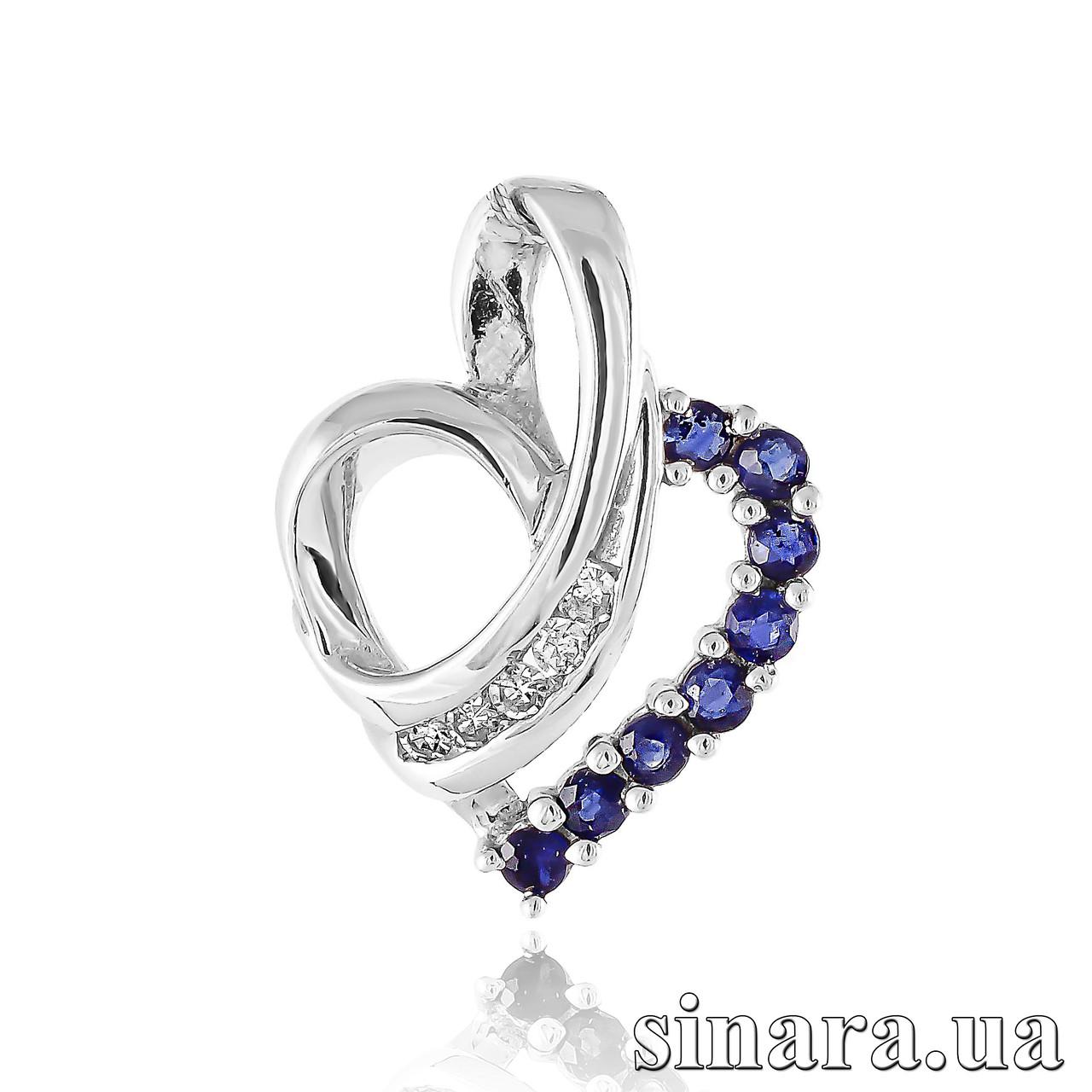 Золотой кулон Сердце с бриллиантами и сапфирами