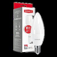 Лампа LED MAXUS C37 CL-F 8W 3000K 220V E14 (1-LED-5317)