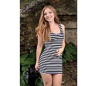 """Платье - тельняшка короткое """"Georgia"""", вискоза, летнее морское платье на пляж, длина 79 см, 42, 44, 46, 48 р."""