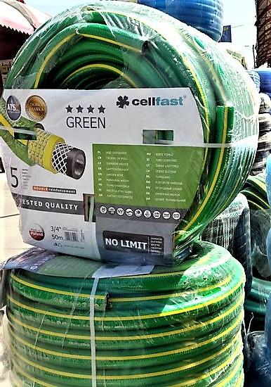 Шланг поливочный армированный Польша Green Cellfast 5ти слойный 3\4 ( Гринн )